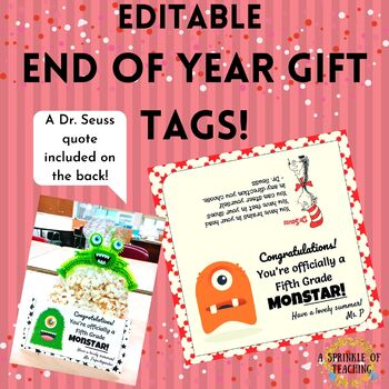End of year MONSTER Gift Tags! **EDITABLE**