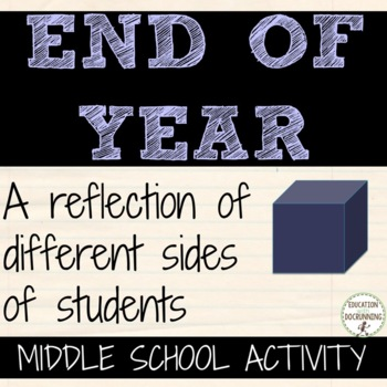 End of year: Middle School Self-Reflection Cube Activity