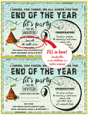 End of year party invitation printable fill in class party school celebration