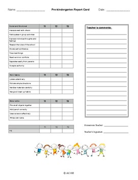 End of year Pre-kindergarten report card
