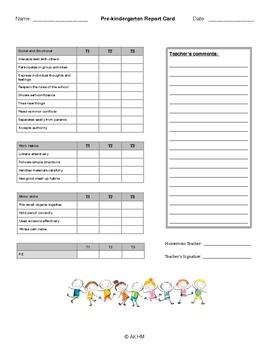 End of year Pre-kindergarten report card