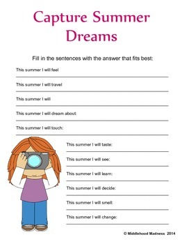 End of year activity: Capture Summer Dreams