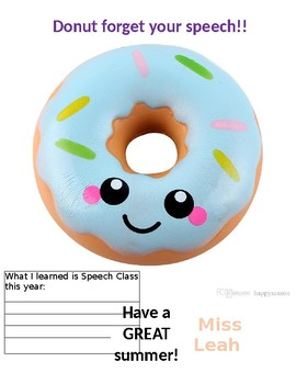 "End of year ""donut forget your speech"" editable"