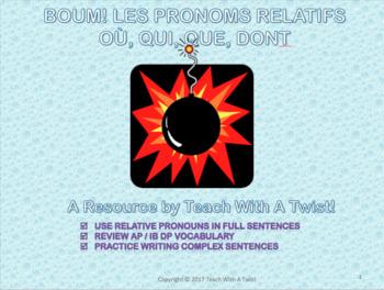 End/start of year grammar game-Les pronoms relatifs- qui,que,dont,où AP/DP