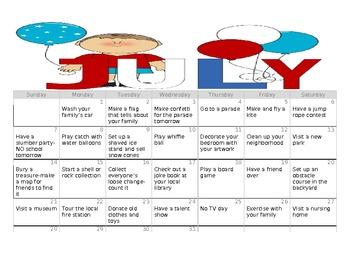 Summer calendar activities for students