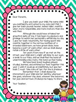 End Of Year Thank You Letters To Teachers From Parents