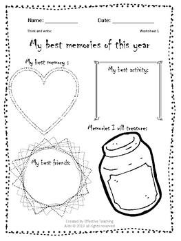End of year memories worksheets