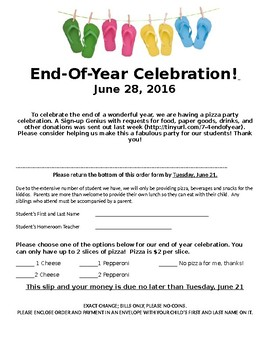 End of year party permission slip