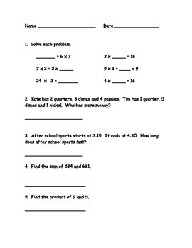 Math Review (end of year or state testing)