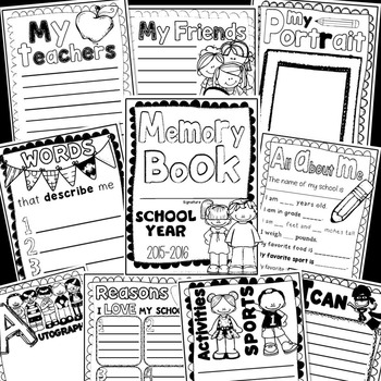End of year school memory book for K-2