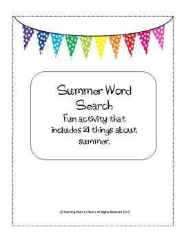 End or Beginning of the Year Summer Word Search