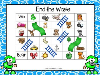 End the Waste:  NO PREP Earth Day Themed Ending Sounds Slide and Climb Game