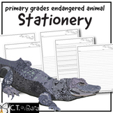 Writing Paper Stationery | Endangered Animals 1 | Primary | Dashed Line | Wide