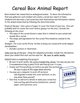 Endangered Animal Cereal Box Research Report