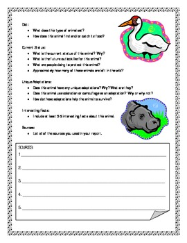 Endangered Animal Informational Report Writing Sheets, 12 Total Pages!!