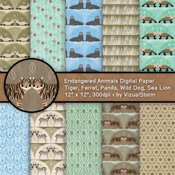 Endangered Animal Patterns - 10 Handmade Printable Wild Animal Digital Papers