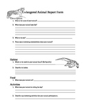 Endangered Animal Report Form for Elementary Students