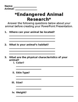 Endangered Animal Google Slides/PPT Research Project
