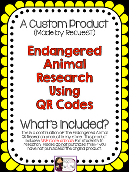 Endangered Animal Research {Custom Order for Laurie}