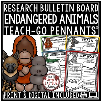 Endangered Animals Activities Teach- Go Pennants™ Endangered Animals Research