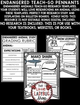 Endangered Animals Activities Teach- Go Pennants™ Endangered Animals Research