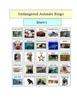 Endangered Animals Bingo - picture supported visuals - 5 Boards