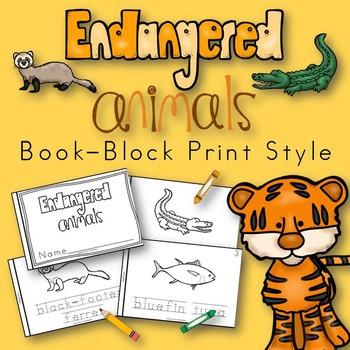 Endangered Animals Book for Kindergarten and 1st Grade {Block Print Style}