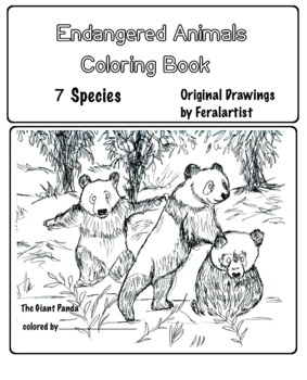 Art Science ... Endangered Animals Coloring Book - 6 Different Species