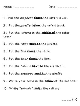 Endangered Animals Following Directions (Prepositions Cardinal Temporal)