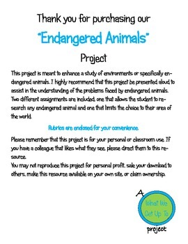 Endangered Animals Project with Rubric