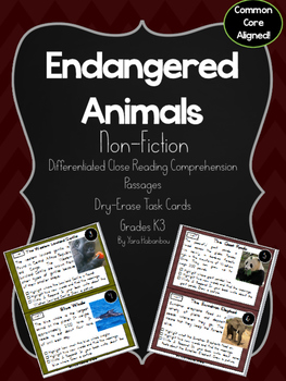 Endangered Animals Nonfiction Reading Passages