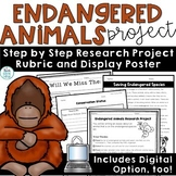 Endangered Animals Species Research Project with Report Poster | End of Year