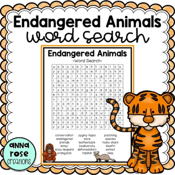 Exhilarating image with animals word search printable
