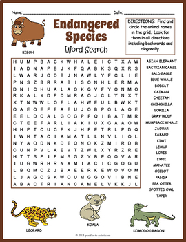 endangered species worksheet endangered animals word search tpt. Black Bedroom Furniture Sets. Home Design Ideas