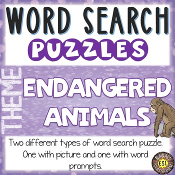 Endangered Animals Word Search Puzzles