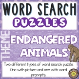 Endangered Animals ESL Activities Word Search Puzzles
