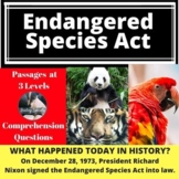 Endangered Species Act Passage & Comprehension Questions D