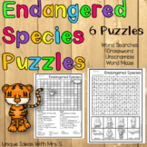 Endangered Species Animal Puzzles Word Search Crossword
