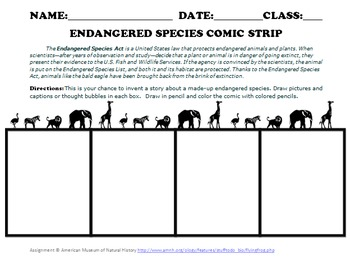 endangered species comic by cindylou teachers pay teachers. Black Bedroom Furniture Sets. Home Design Ideas