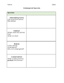 Endangered Species Graphic Organizer