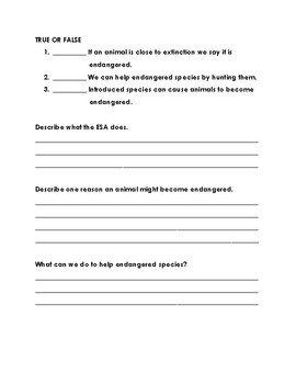 Endangered Species Handouts and Assessment