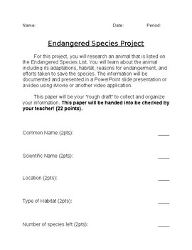 Endangered Species Project