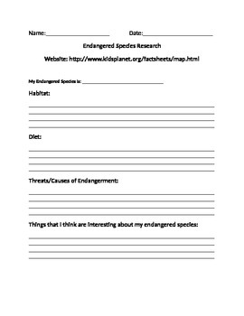 Endangered Species Project Research Sheet