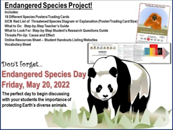 Endangered Species Project - Teacher's Guide, Handouts, Posters and More!