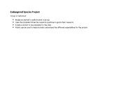 Endangered Species Project with Rubric