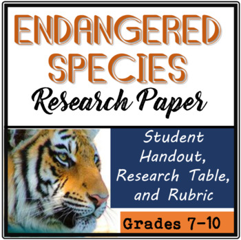 Endangered Species Research Paper for Secondary Students