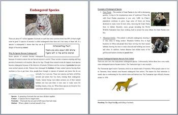 Endangered Species -  Scientific Reading Comprehension Article – Grades 5-7