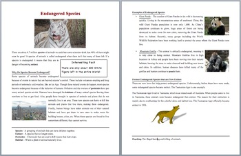 Endangered Species -  Scientific Reading Comprehension Article – Grades 5-7
