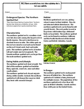 Endangered Species: The Northern Spotted Owl