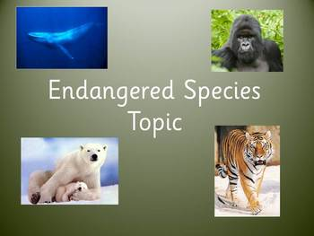 Endangered Species Topic Planner and Worksheets